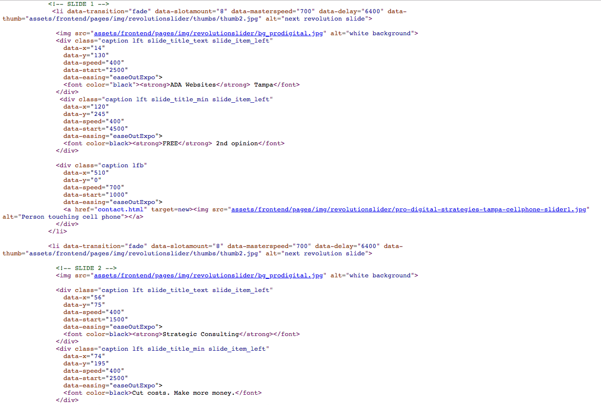 screenshot of web design source code from pro digital strategies home page